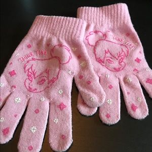 "Disney girls pink ""Think Tink"" Tinkerbell gloves"
